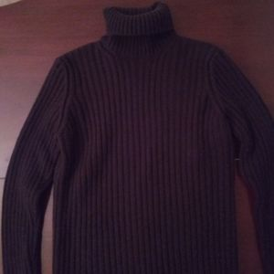Women's Turtleneck Wool Sweater Color Eggplant.